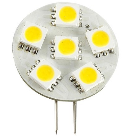 Side Pin G4 12V AC/DC 6 x Tri-Chip 5050 SMD LED Bulb 120 Degree - 12W Equal
